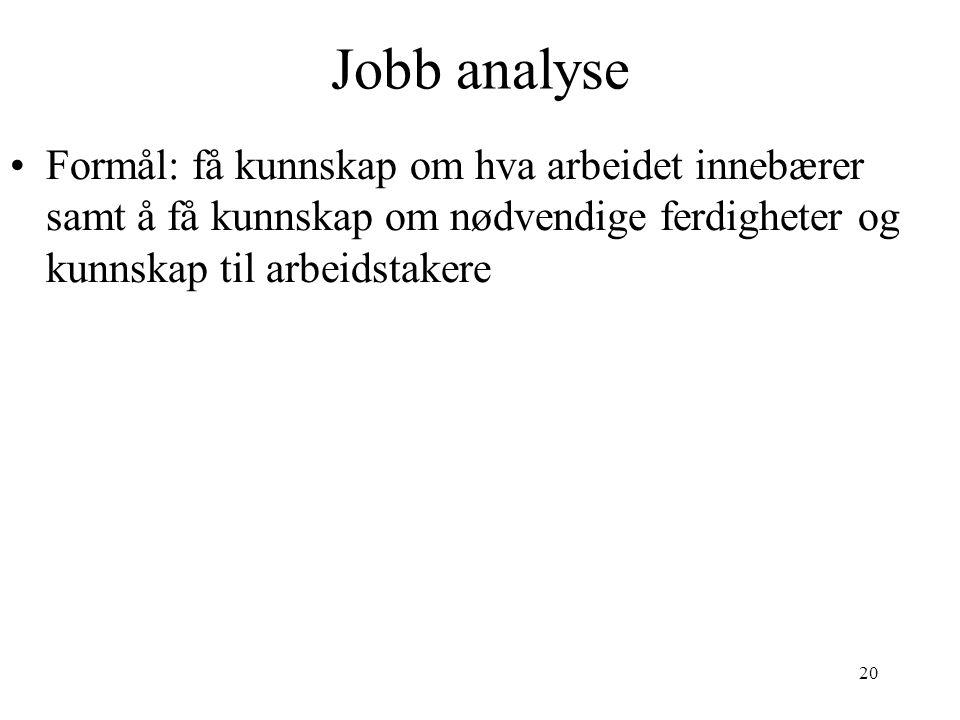 20 Jobb analyse Formål: få kunnskap om hva arbeidet innebærer samt å få kunnskap om nødvendige ferdigheter og kunnskap til arbeidstakere