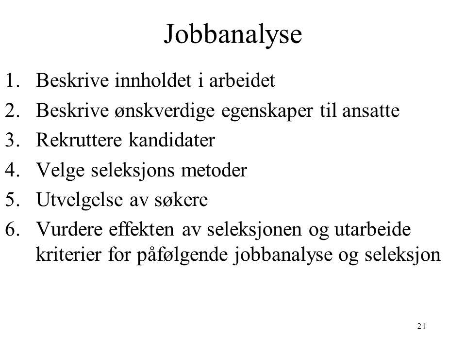 21 Jobbanalyse 1.Beskrive innholdet i arbeidet 2.Beskrive ønskverdige egenskaper til ansatte 3.Rekruttere kandidater 4.Velge seleksjons metoder 5.Utvelgelse av søkere 6.Vurdere effekten av seleksjonen og utarbeide kriterier for påfølgende jobbanalyse og seleksjon