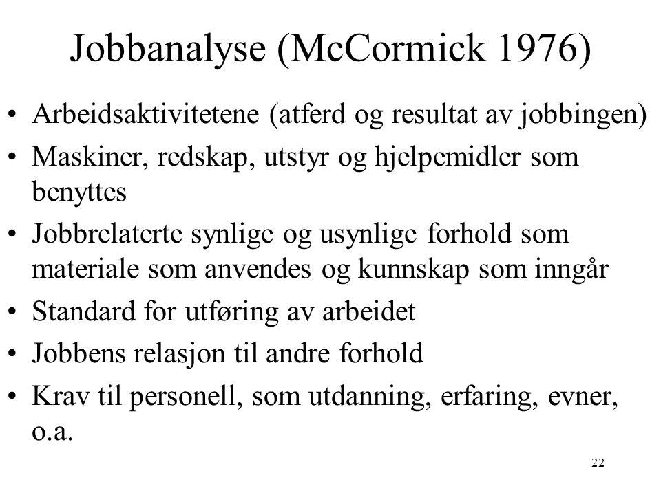 22 Jobbanalyse (McCormick 1976) Arbeidsaktivitetene (atferd og resultat av jobbingen) Maskiner, redskap, utstyr og hjelpemidler som benyttes Jobbrelat