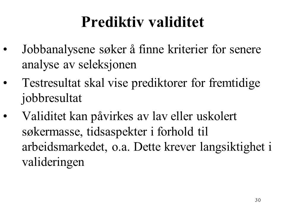 30 Prediktiv validitet Jobbanalysene søker å finne kriterier for senere analyse av seleksjonen Testresultat skal vise prediktorer for fremtidige jobbr