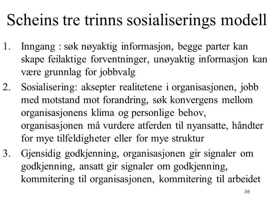 36 Scheins tre trinns sosialiserings modell 1.Inngang : søk nøyaktig informasjon, begge parter kan skape feilaktige forventninger, unøyaktig informasjon kan være grunnlag for jobbvalg 2.Sosialisering: aksepter realitetene i organisasjonen, jobb med motstand mot forandring, søk konvergens mellom organisasjonens klima og personlige behov, organisasjonen må vurdere atferden til nyansatte, håndter for mye tilfeldigheter eller for mye struktur 3.Gjensidig godkjenning, organisasjonen gir signaler om godkjenning, ansatt gir signaler om godkjenning, kommitering til organisasjonen, kommitering til arbeidet