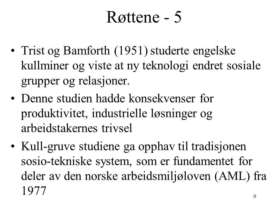 9 Røttene - 5 Trist og Bamforth (1951) studerte engelske kullminer og viste at ny teknologi endret sosiale grupper og relasjoner. Denne studien hadde