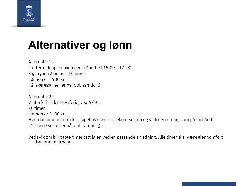 Alternativer og lønn Alternativ 1: 2 ettermiddager i uken i en måned. Kl.15.00 – 17. 00 8 ganger à 2 timer = 16 timer Lønnen er 2500 kr ( 2 lekeressur