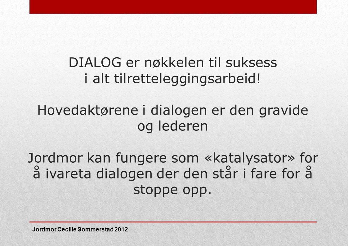 DIALOG er nøkkelen til suksess i alt tilretteleggingsarbeid! Hovedaktørene i dialogen er den gravide og lederen Jordmor kan fungere som «katalysator»
