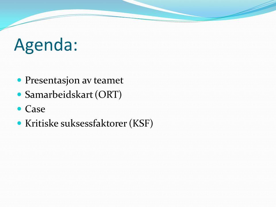 Agenda: Presentasjon av teamet Samarbeidskart (ORT) Case Kritiske suksessfaktorer (KSF)