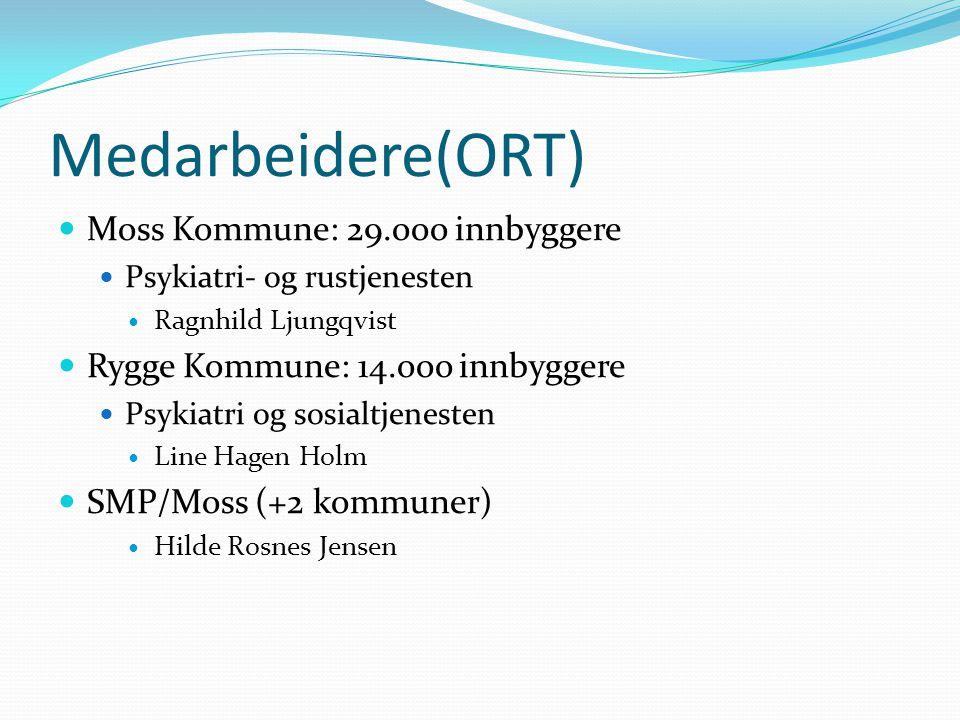 Medarbeidere(ORT) Moss Kommune: 29.ooo innbyggere Psykiatri- og rustjenesten Ragnhild Ljungqvist Rygge Kommune: 14.ooo innbyggere Psykiatri og sosialtjenesten Line Hagen Holm SMP/Moss (+2 kommuner) Hilde Rosnes Jensen