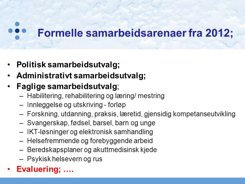 Formelle samarbeidsarenaer fra 2012; Politisk samarbeidsutvalg; Administrativt samarbeidsutvalg; Faglige samarbeidsutvalg; –Habilitering, rehabiliteri