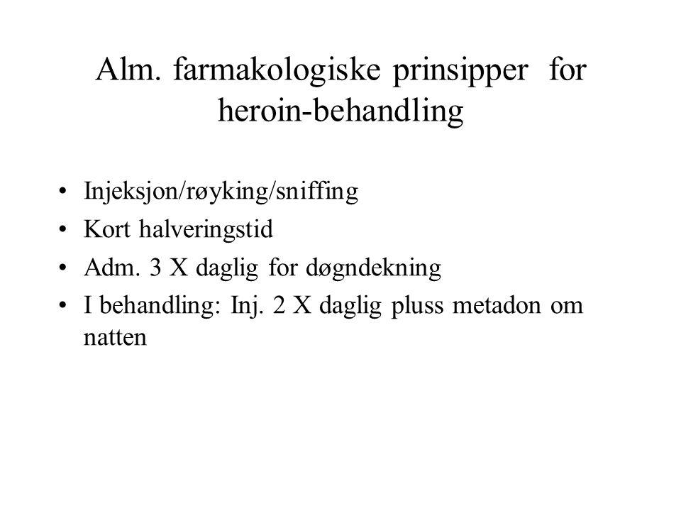 Alm. farmakologiske prinsipper for heroin-behandling Injeksjon/røyking/sniffing Kort halveringstid Adm. 3 X daglig for døgndekning I behandling: Inj.