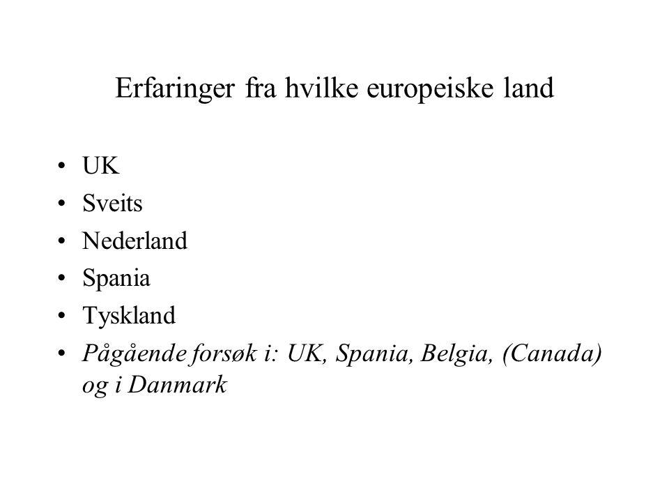 Erfaringer fra hvilke europeiske land UK Sveits Nederland Spania Tyskland Pågående forsøk i: UK, Spania, Belgia, (Canada) og i Danmark