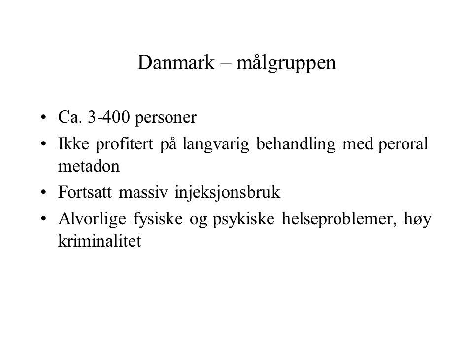 Danmark – målgruppen Ca. 3-400 personer Ikke profitert på langvarig behandling med peroral metadon Fortsatt massiv injeksjonsbruk Alvorlige fysiske og