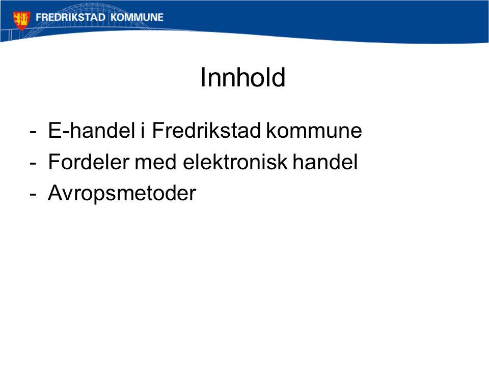 E-handel i Fredrikstad kommune -Oppstart av Ehandel februar 2002 -Vi sto ved et veiskille – skulle vi legge ned ehandel og gjeninnføre telefon, fax, epost osv..
