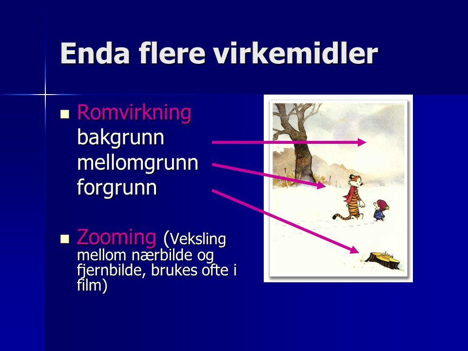 Enda flere virkemidler Romvirkning Romvirkningbakgrunnmellomgrunnforgrunn Zooming ( Veksling mellom nærbilde og fjernbilde, brukes ofte i film) Zoomin