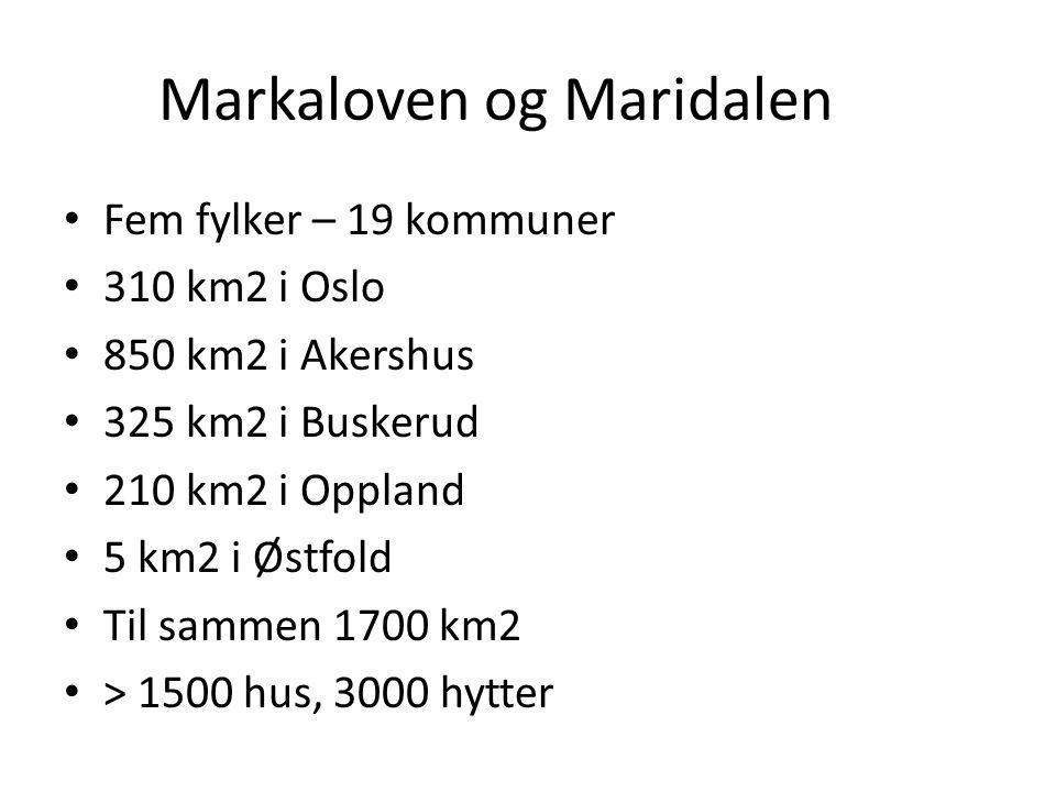 Markaloven og Maridalen Fem fylker – 19 kommuner 310 km2 i Oslo 850 km2 i Akershus 325 km2 i Buskerud 210 km2 i Oppland 5 km2 i Østfold Til sammen 1700 km2 > 1500 hus, 3000 hytter