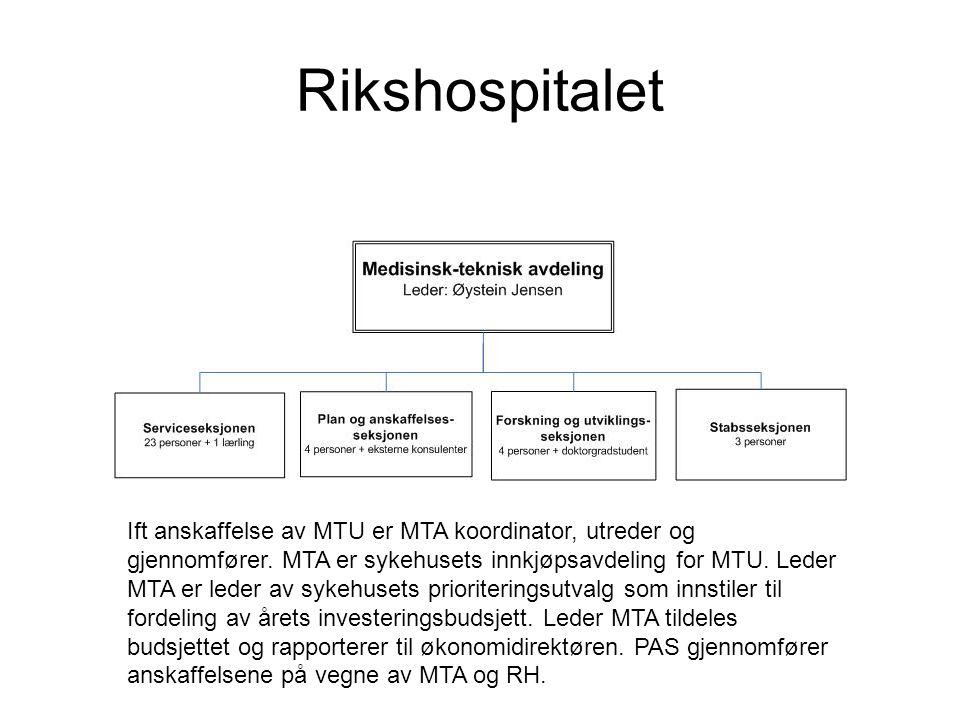 Rikshospitalet Ift anskaffelse av MTU er MTA koordinator, utreder og gjennomfører.