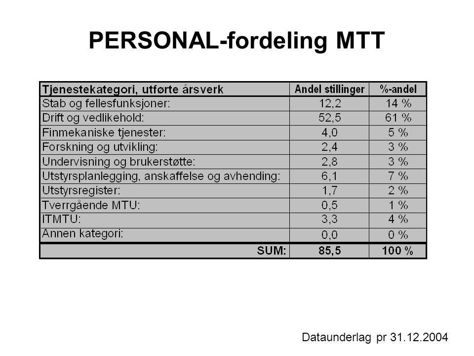 PERSONAL-fordeling MTT Dataunderlag pr 31.12.2004