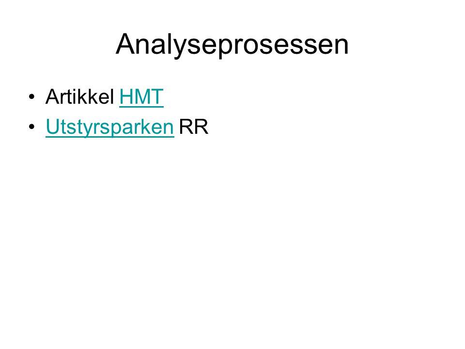 Analyseprosessen Artikkel HMTHMT Utstyrsparken RRUtstyrsparken