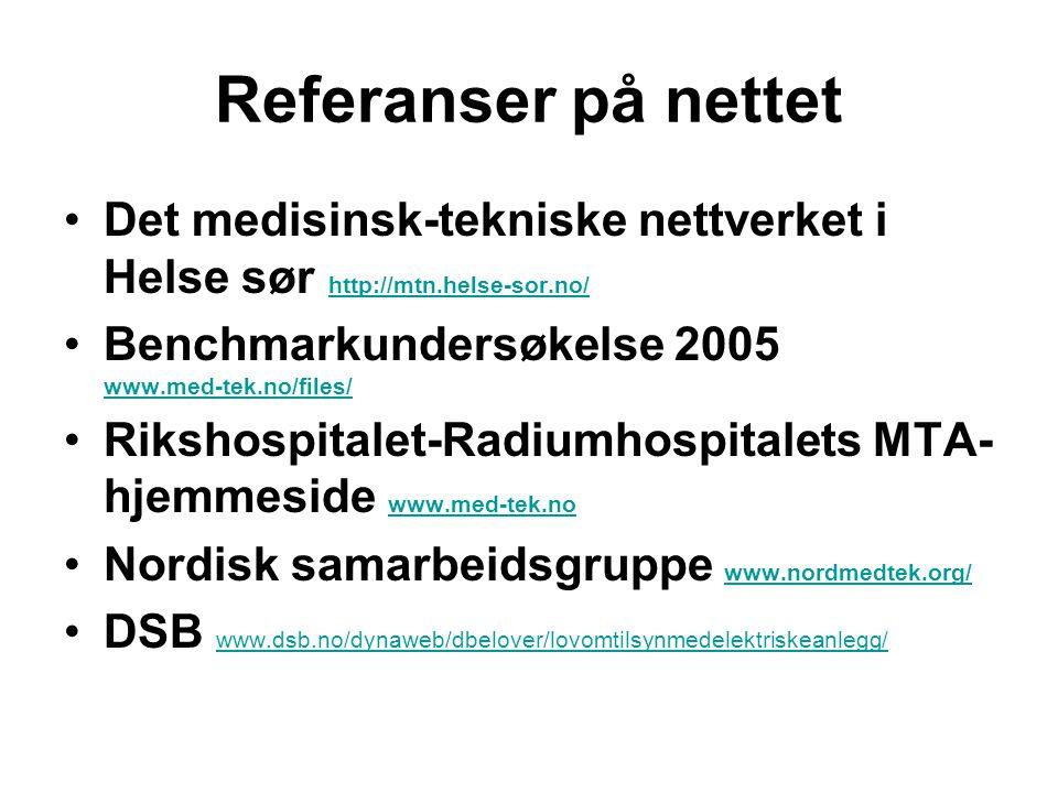 Referanser på nettet Det medisinsk-tekniske nettverket i Helse sør http://mtn.helse-sor.no/ http://mtn.helse-sor.no/ Benchmarkundersøkelse 2005 www.med-tek.no/files/ www.med-tek.no/files/ Rikshospitalet-Radiumhospitalets MTA- hjemmeside www.med-tek.no www.med-tek.no Nordisk samarbeidsgruppe www.nordmedtek.org/ www.nordmedtek.org/ DSB www.dsb.no/dynaweb/dbelover/lovomtilsynmedelektriskeanlegg/ www.dsb.no/dynaweb/dbelover/lovomtilsynmedelektriskeanlegg/
