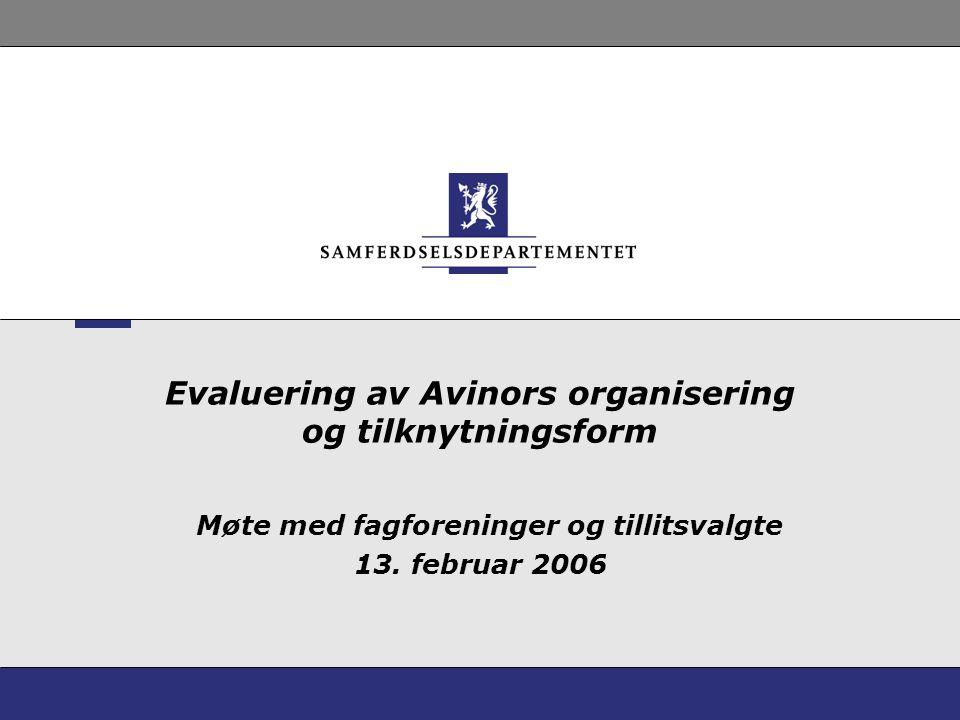 Evaluering av Avinors organisering og tilknytningsform Møte med fagforeninger og tillitsvalgte 13.