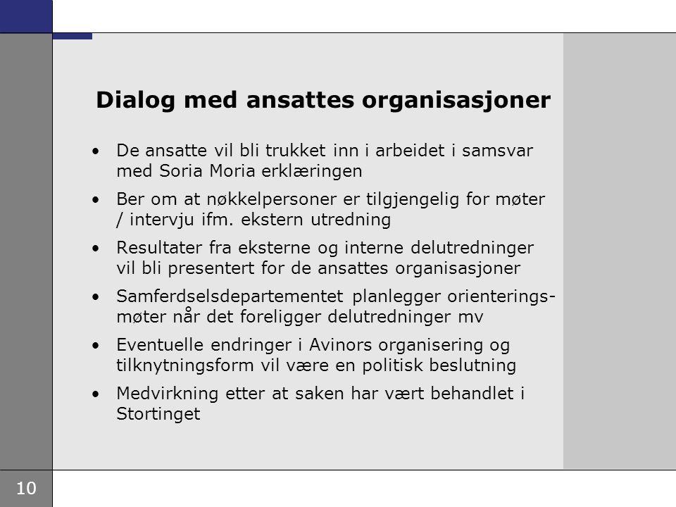10 Dialog med ansattes organisasjoner De ansatte vil bli trukket inn i arbeidet i samsvar med Soria Moria erklæringen Ber om at nøkkelpersoner er tilgjengelig for møter / intervju ifm.