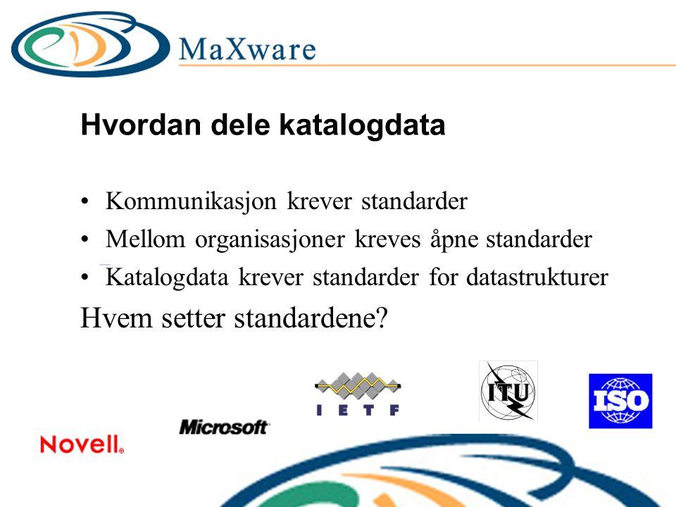 Hvordan dele katalogdata Kommunikasjon krever standarder Mellom organisasjoner kreves åpne standarder Katalogdata krever standarder for datastrukturer Hvem setter standardene?