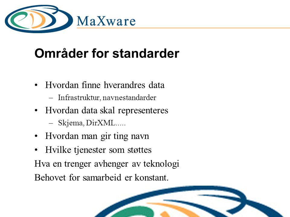 Områder for standarder Hvordan finne hverandres data –Infrastruktur, navnestandarder Hvordan data skal representeres –Skjema, DirXML.....