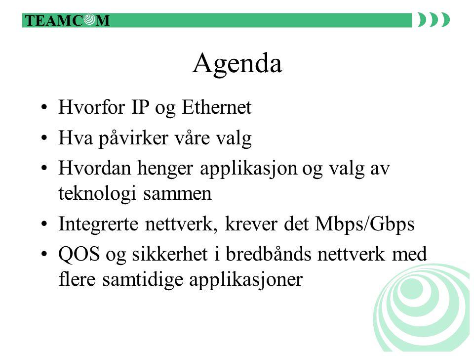TEAMC M Agenda Hvorfor IP og Ethernet Hva påvirker våre valg Hvordan henger applikasjon og valg av teknologi sammen Integrerte nettverk, krever det Mbps/Gbps QOS og sikkerhet i bredbånds nettverk med flere samtidige applikasjoner