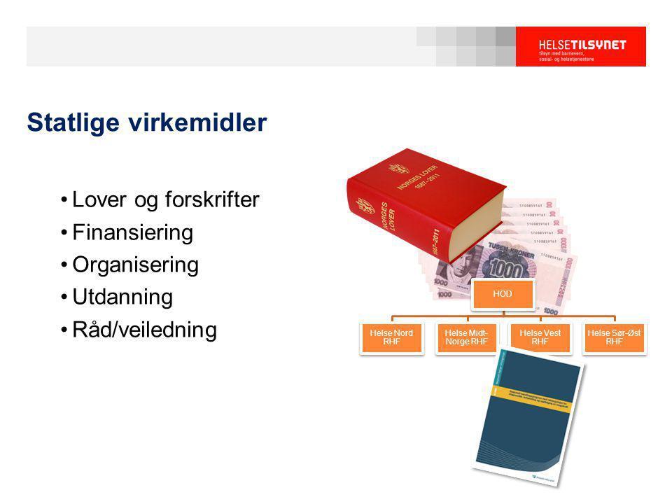 HOD Helse Nord RHF Helse Midt- Norge RHF Helse Vest RHF Helse Sør-Øst RHF Statlige virkemidler Lover og forskrifter Finansiering Organisering Utdannin