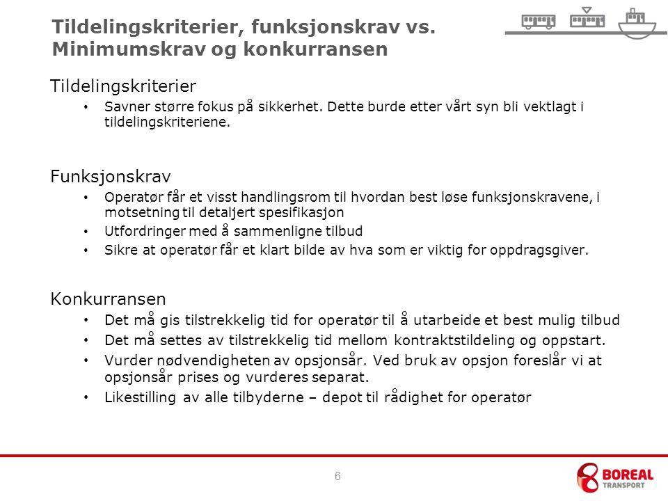Tildelingskriterier, funksjonskrav vs.