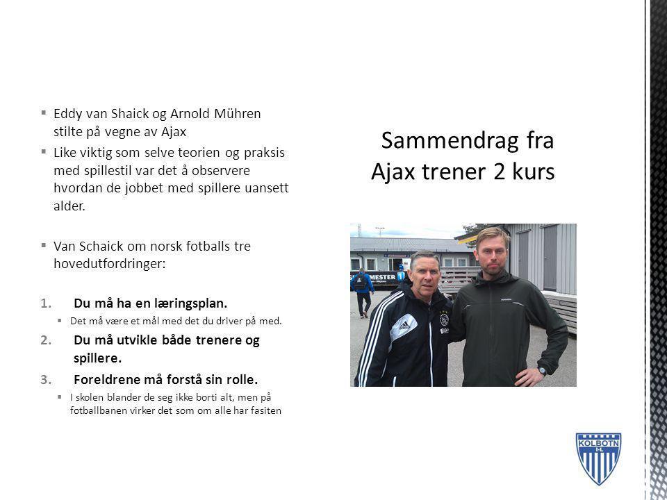  Eddy van Shaick og Arnold Mühren stilte på vegne av Ajax  Like viktig som selve teorien og praksis med spillestil var det å observere hvordan de jo