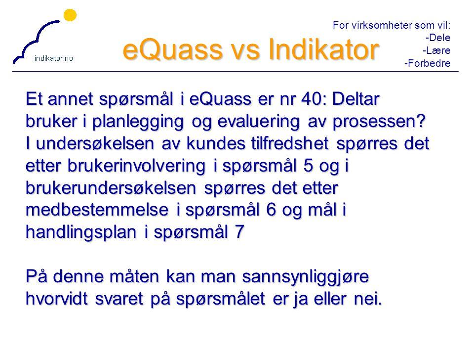 For virksomheter som vil: -Dele -Lære -Forbedre 11 Et annet spørsmål i eQuass er nr 40: Deltar bruker i planlegging og evaluering av prosessen.
