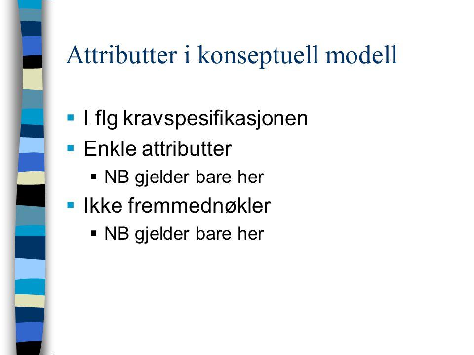 Attributter i konseptuell modell  I flg kravspesifikasjonen  Enkle attributter  NB gjelder bare her  Ikke fremmednøkler  NB gjelder bare her