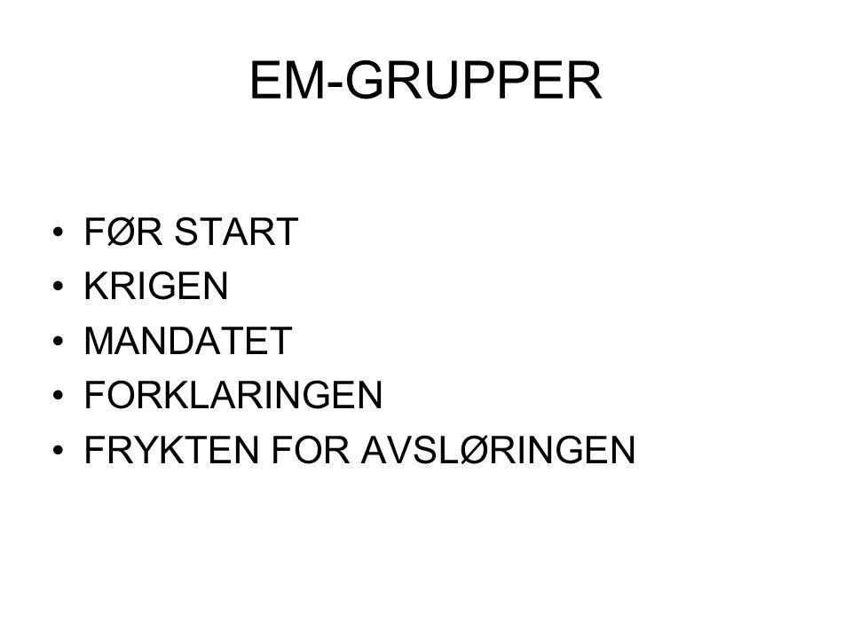 EM-GRUPPER FØR START KRIGEN MANDATET FORKLARINGEN FRYKTEN FOR AVSLØRINGEN