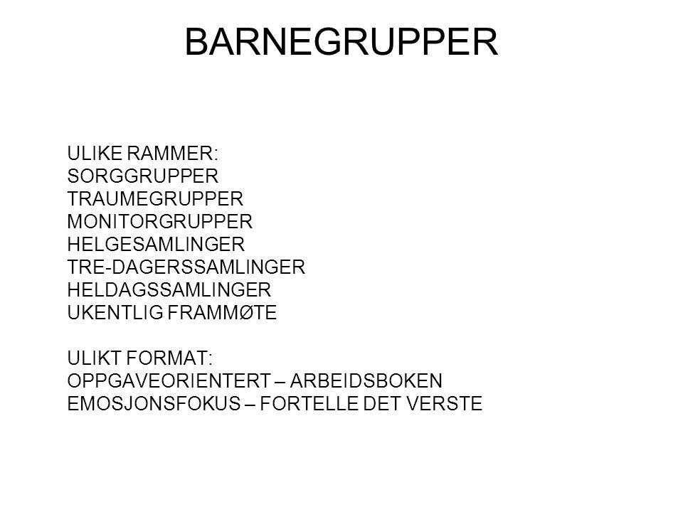 BARNEGRUPPER ULIKE RAMMER: SORGGRUPPER TRAUMEGRUPPER MONITORGRUPPER HELGESAMLINGER TRE-DAGERSSAMLINGER HELDAGSSAMLINGER UKENTLIG FRAMMØTE ULIKT FORMAT