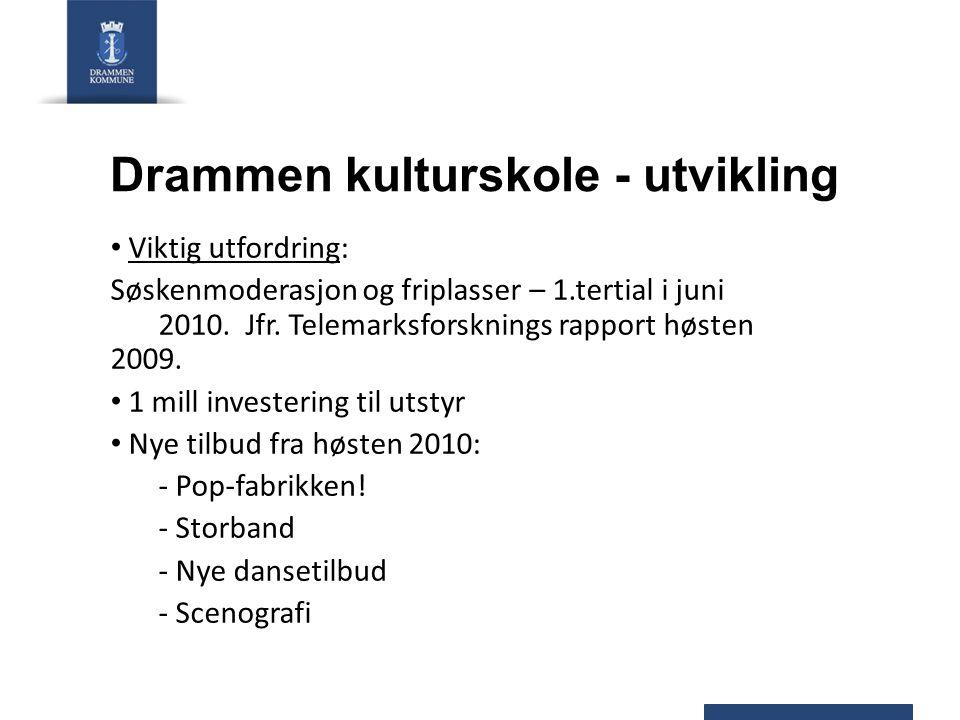 Drammen kulturskole - utvikling Viktig utfordring: Søskenmoderasjon og friplasser – 1.tertial i juni 2010.