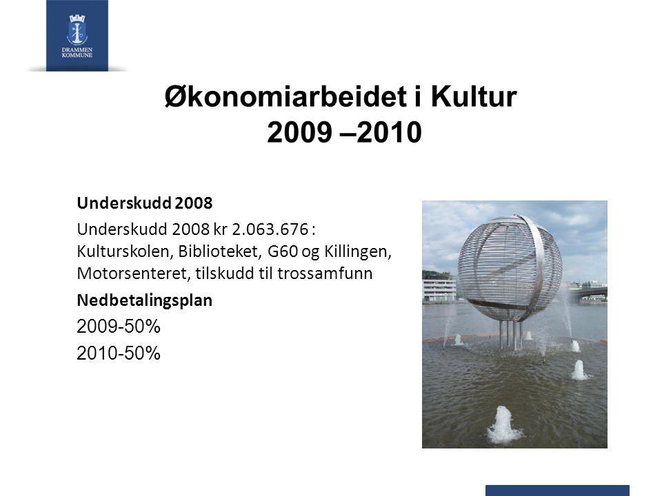 Økonomiarbeidet i Kultur 2009 –2010 Underskudd 2008 Underskudd 2008 kr 2.063.676 : Kulturskolen, Biblioteket, G60 og Killingen, Motorsenteret, tilskudd til trossamfunn Nedbetalingsplan 2009-50% 2010-50%