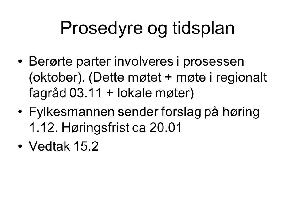 Prosedyre og tidsplan Berørte parter involveres i prosessen (oktober). (Dette møtet + møte i regionalt fagråd 03.11 + lokale møter) Fylkesmannen sende