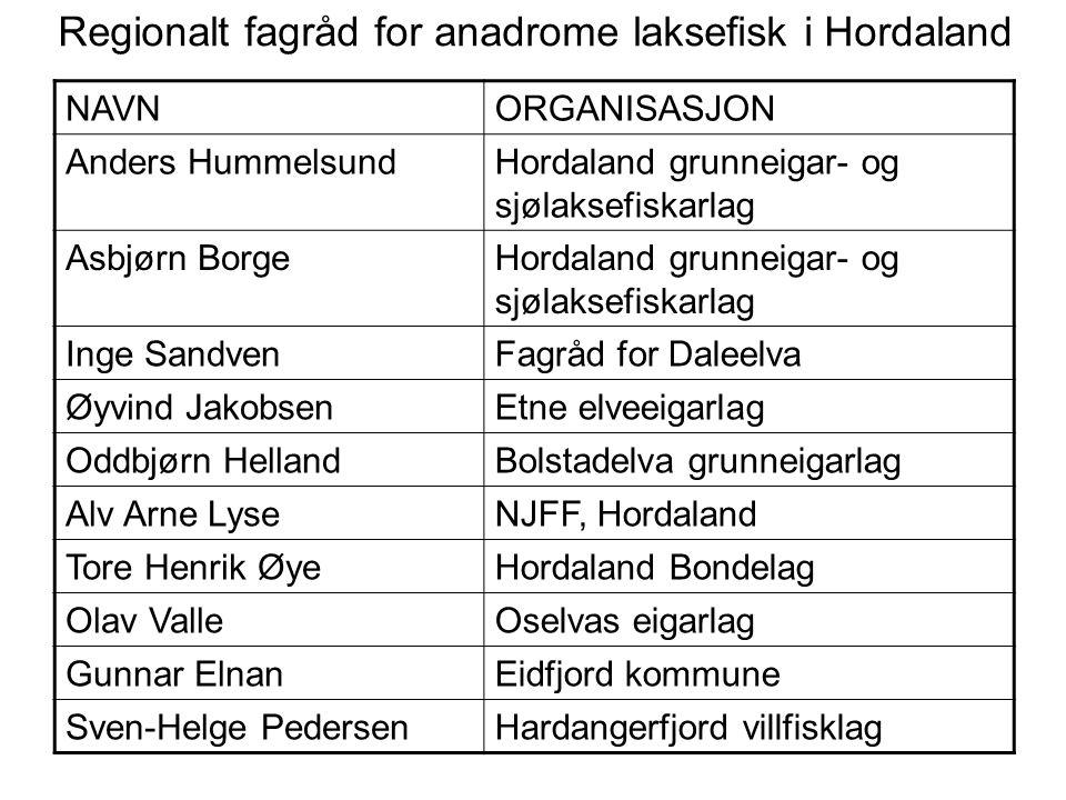 Regionalt fagråd for anadrome laksefisk i Hordaland NAVNORGANISASJON Anders HummelsundHordaland grunneigar- og sjølaksefiskarlag Asbjørn BorgeHordalan