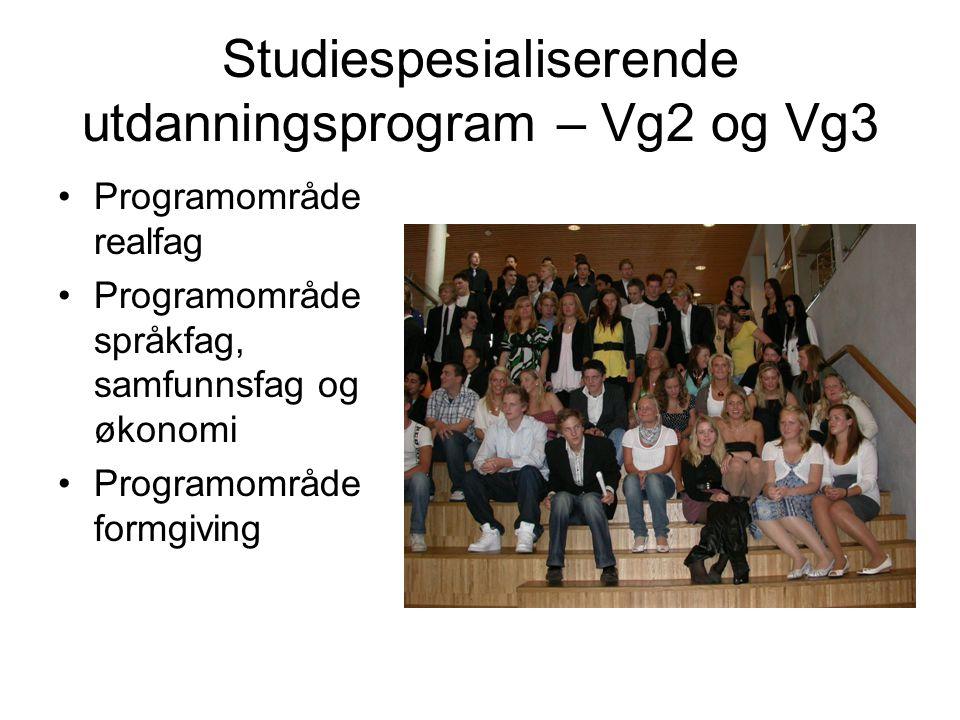 Studiespesialiserende utdanningsprogram – Vg2 og Vg3 Programområde realfag Programområde språkfag, samfunnsfag og økonomi Programområde formgiving