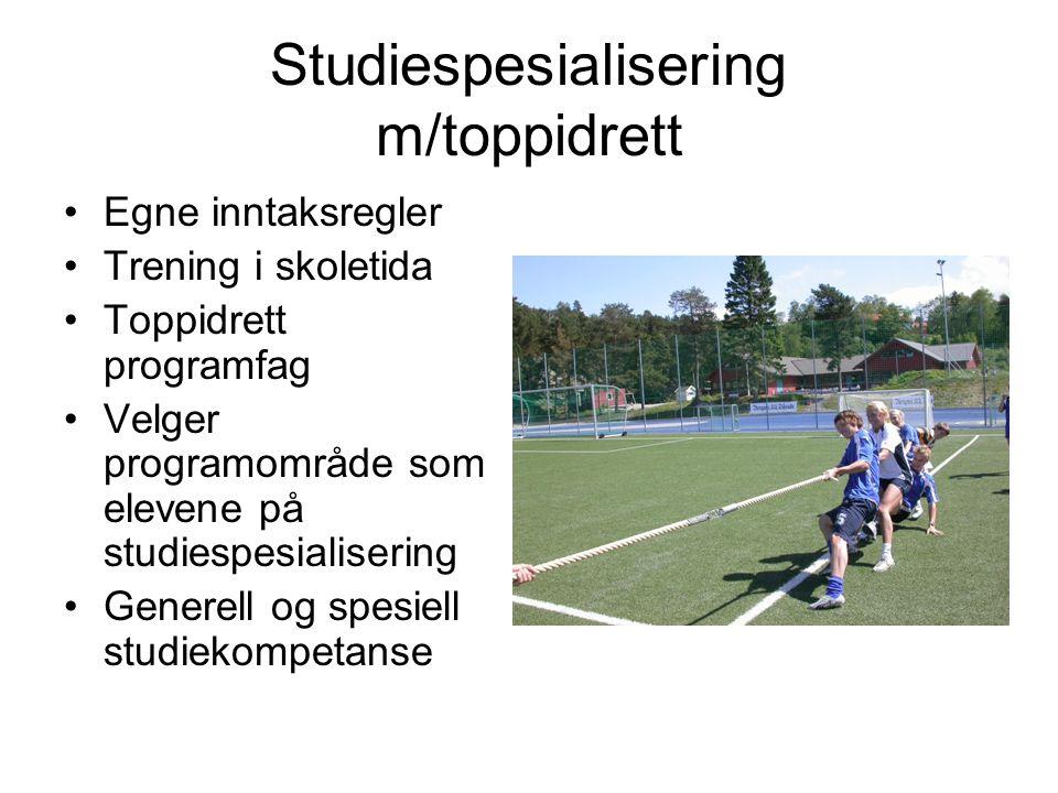 Studiespesialisering m/toppidrett Egne inntaksregler Trening i skoletida Toppidrett programfag Velger programområde som elevene på studiespesialiserin