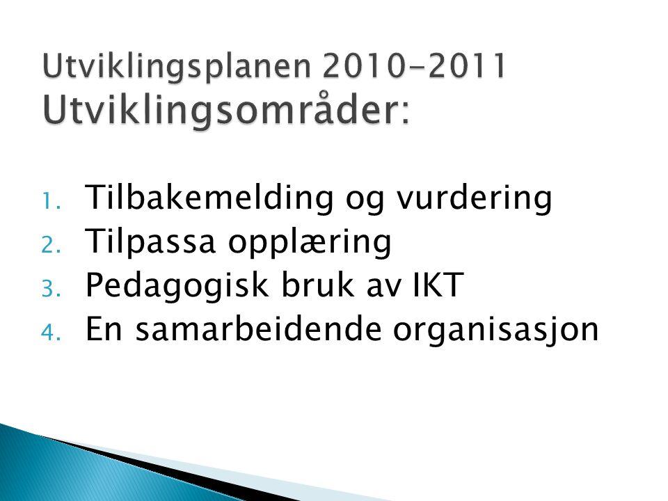 1. Tilbakemelding og vurdering 2. Tilpassa opplæring 3. Pedagogisk bruk av IKT 4. En samarbeidende organisasjon