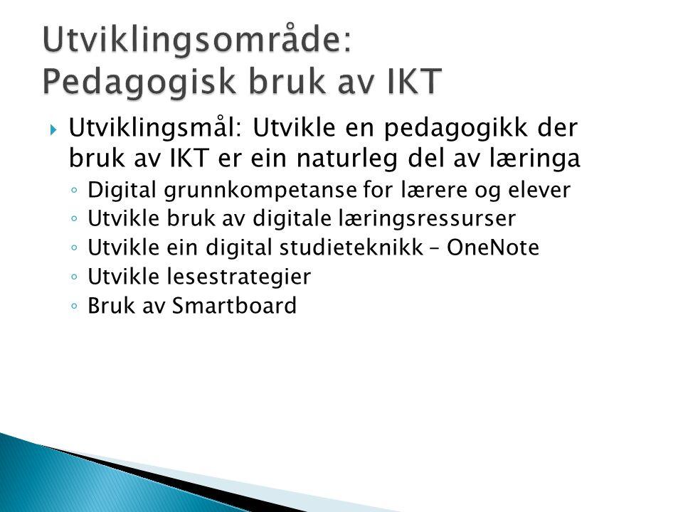  Utviklingsmål: Utvikle en pedagogikk der bruk av IKT er ein naturleg del av læringa ◦ Digital grunnkompetanse for lærere og elever ◦ Utvikle bruk av