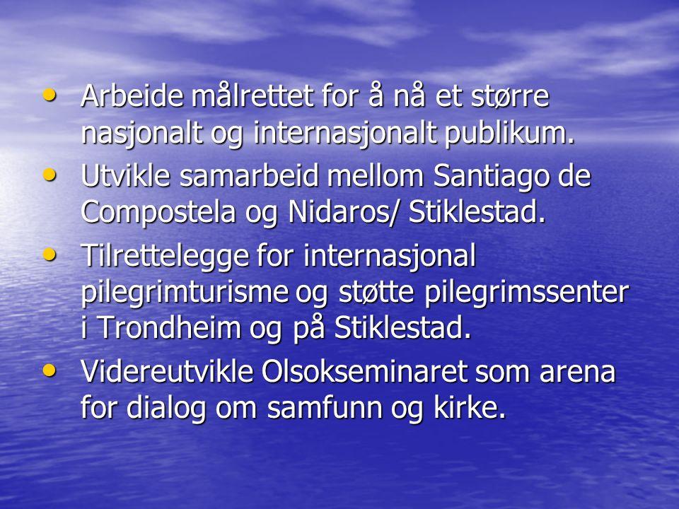 Målsetting Mål for hovedprosjekt: Mål for hovedprosjekt: - å etablere en hensiktsmessig funksjon i tilknytning til Stiklestad som foretar pakking og salg av reiselivprodukter med Olavsarven som plattform.