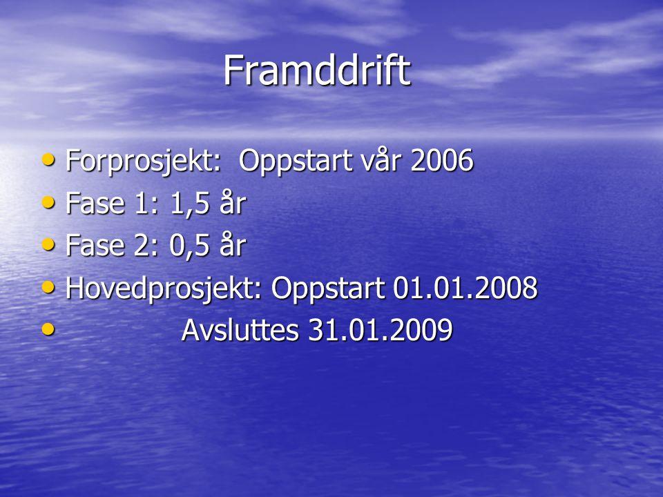 Framddrift Forprosjekt: Oppstart vår 2006 Forprosjekt: Oppstart vår 2006 Fase 1: 1,5 år Fase 1: 1,5 år Fase 2: 0,5 år Fase 2: 0,5 år Hovedprosjekt: Oppstart 01.01.2008 Hovedprosjekt: Oppstart 01.01.2008 Avsluttes 31.01.2009 Avsluttes 31.01.2009