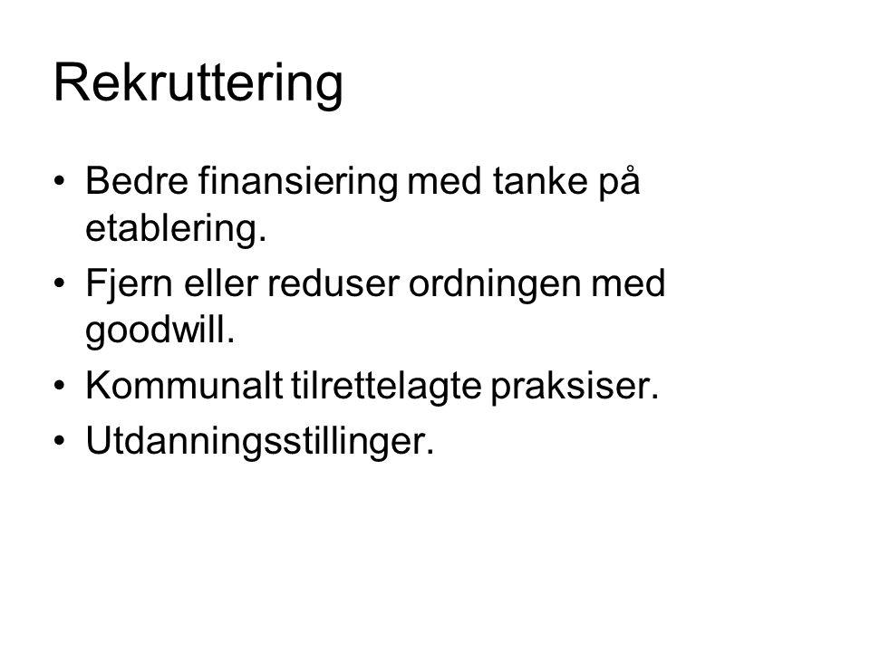 Rekruttering Bedre finansiering med tanke på etablering. Fjern eller reduser ordningen med goodwill. Kommunalt tilrettelagte praksiser. Utdanningsstil