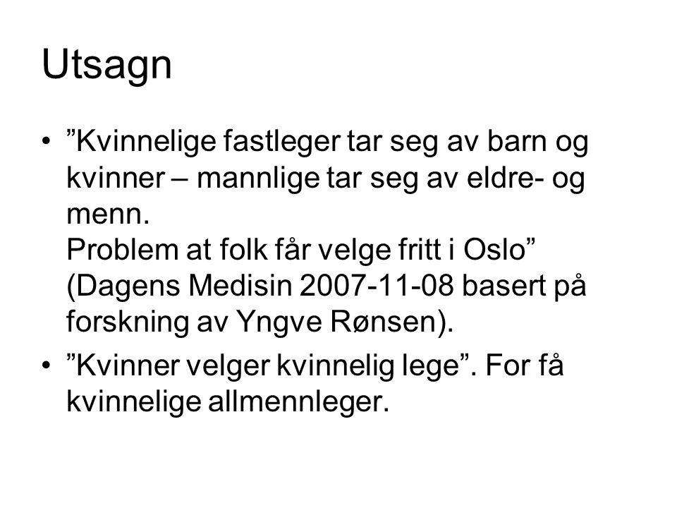 """Utsagn """"Kvinnelige fastleger tar seg av barn og kvinner – mannlige tar seg av eldre- og menn. Problem at folk får velge fritt i Oslo"""" (Dagens Medisin"""