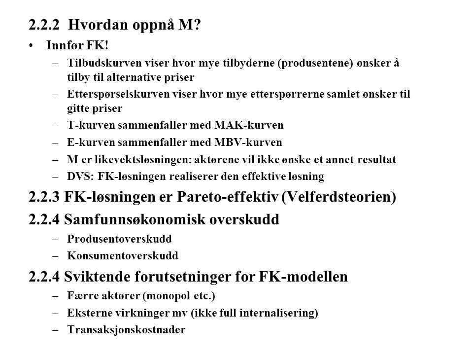2.2.2 Hvordan oppnå M? Innfør FK! –Tilbudskurven viser hvor mye tilbyderne (produsentene) ønsker å tilby til alternative priser –Etterspørselskurven v