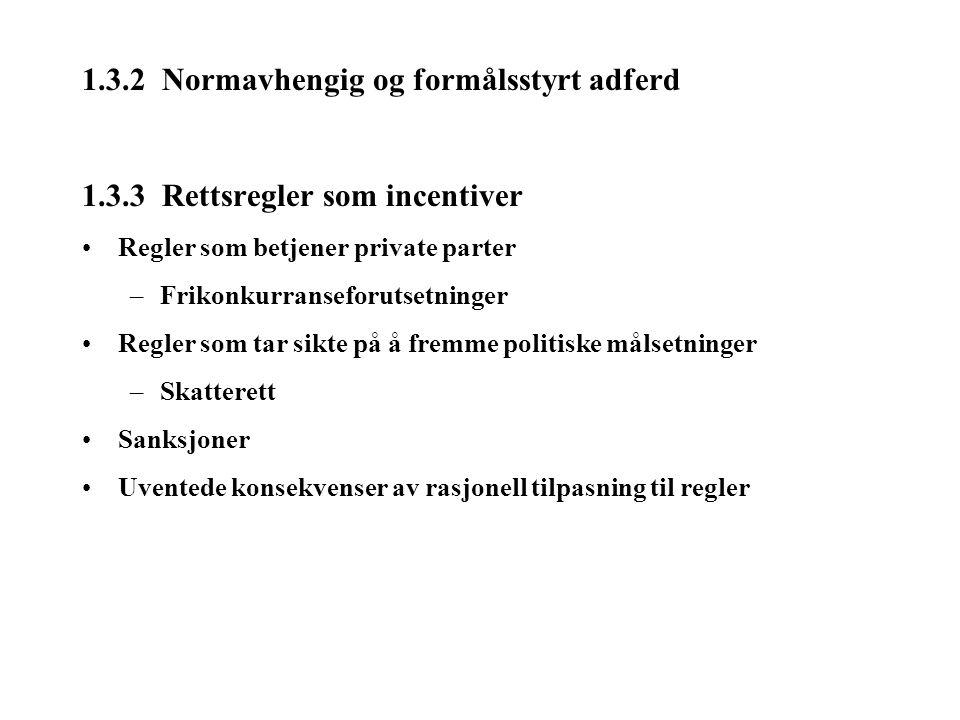 1.3.2 Normavhengig og formålsstyrt adferd 1.3.3 Rettsregler som incentiver Regler som betjener private parter –Frikonkurranseforutsetninger Regler som