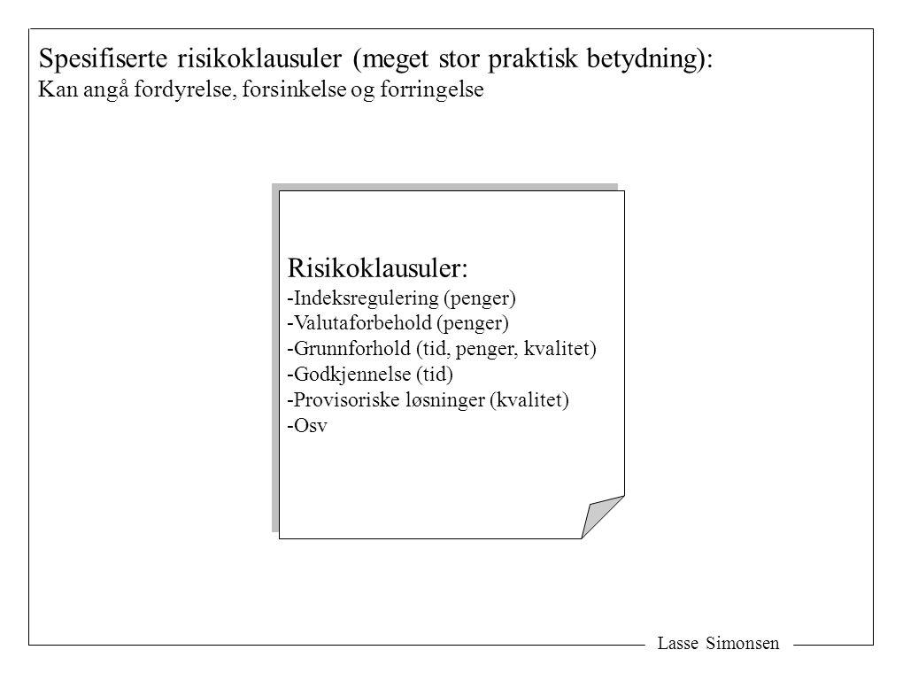 Lasse Simonsen Spesifiserte risikoklausuler (meget stor praktisk betydning): Kan angå fordyrelse, forsinkelse og forringelse Risikoklausuler: -Indeksr