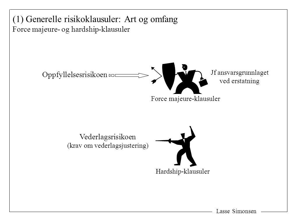 Lasse Simonsen (1) Generelle risikoklausuler: Art og omfang Force majeure- og hardship-klausuler Oppfyllelsesrisikoen Vederlagsrisikoen (krav om veder