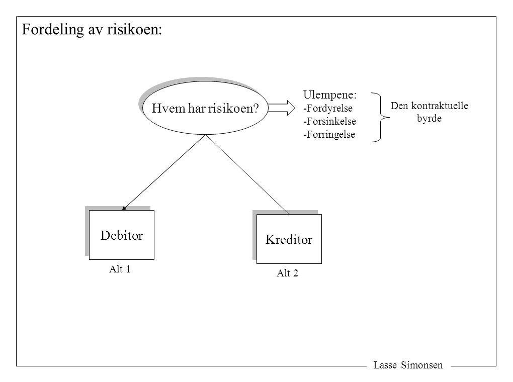 Lasse Simonsen (1) Debitors risiko – de to risikotypene: Debitors risiko Debitors risiko Fordyrelse Forsinkelse Forringelse (mangel) Forringelse (mangel) Kontraktbrudd (avtalte mål nås ikke av grunner som debitor har risikoen for) Ikke økt vederlag Ikke økt vederlag Redusert vederlag Redusert vederlag Ytelsesrisikoen Risikoen for å måtte oppfylle (in natura eller økonomisk) Natural- oppfyllelse Natural- oppfyllelse Erstatning Vederlagsrisikoen Risikoen for gjensidighetsbeføyelser -Tilbakeholdelse -Prisavslag -Heving Alt 1 Alt 2 -Fastholdelse (forsink) -Omlevering -Retting